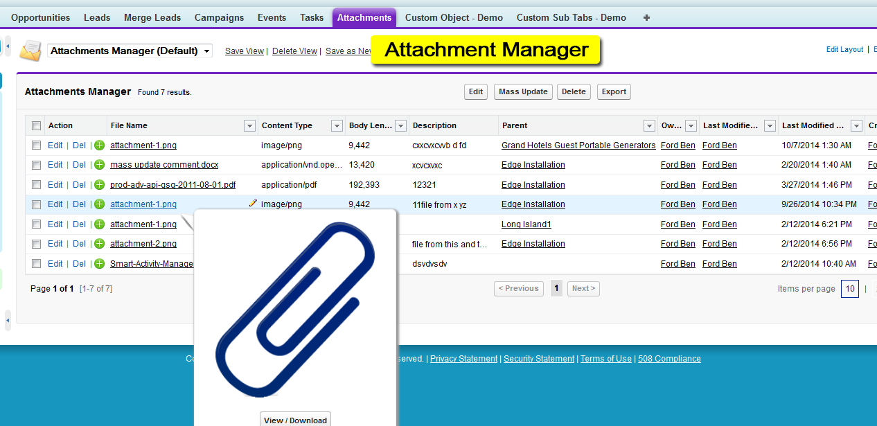 Smart Mass Update - Attachment Manager