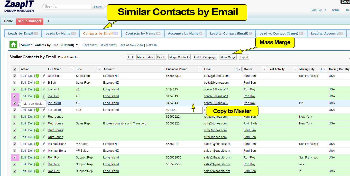 Dedup-manager - Similiar contacts by email