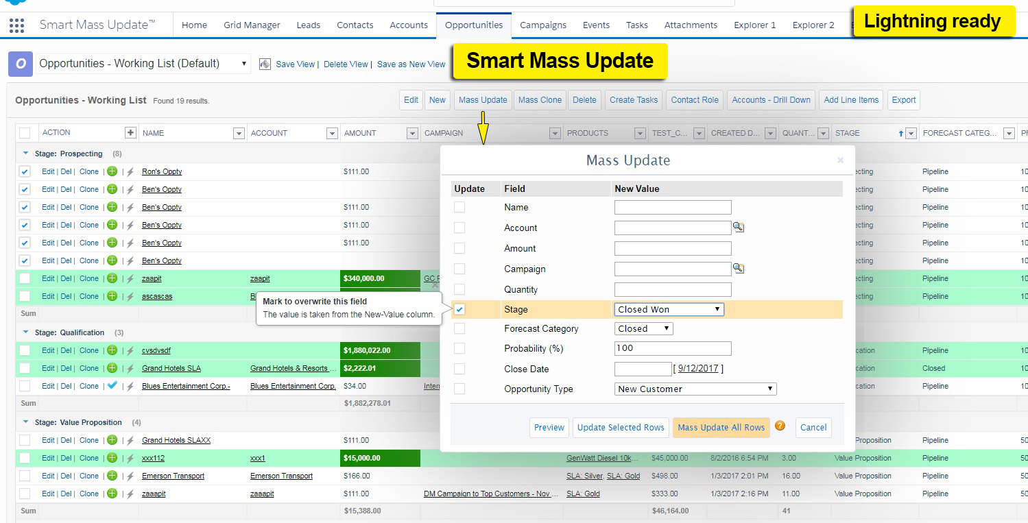 Smart Mass Update - bulk update - Lightning Ready