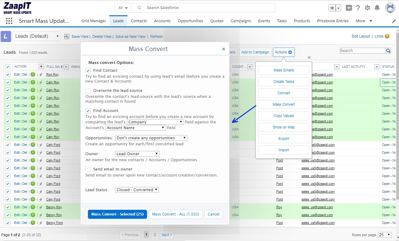 Mass Convert Leads in Salesforce