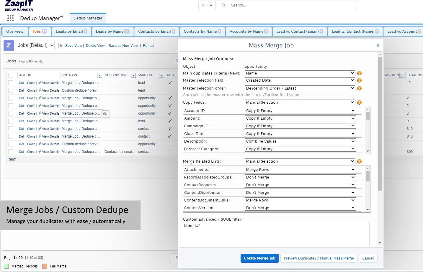 Auto Merge opportunity in Salesforce - detection